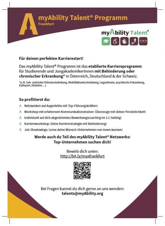 Infozettel des myAbilityTalent Programms